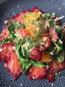 Beetroot & Gin Cured Salmon w Citrus Salad & Lemon Breadcrumbs : Jax Hamilton